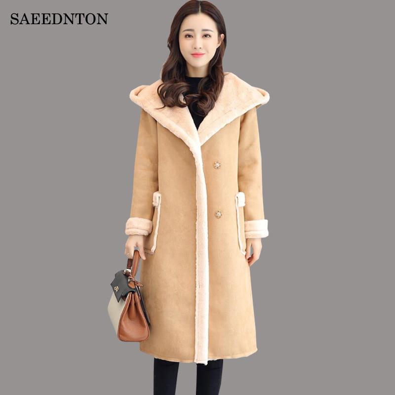 2018 Winter Women Fashion Lambs Wool Sheepskin Hooded Coat Female Long Shearling Coats Double-breasted Faux   Suede     Leather   Jacket