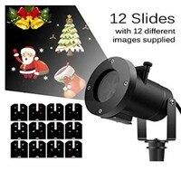 Glow Party Supplies Waterproof 12 Slides LED Projector Light Snowflake Spotlight Christmas Halloween Decoration US/EU/UK/AU Plug