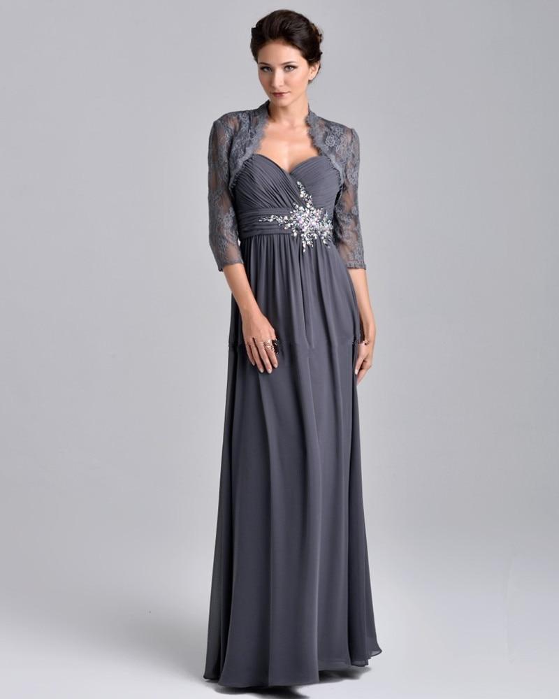 Nouveauté élégante mousseline de soie gris demi manches perlée mère de la mariée robes soirée robe de bal avec veste