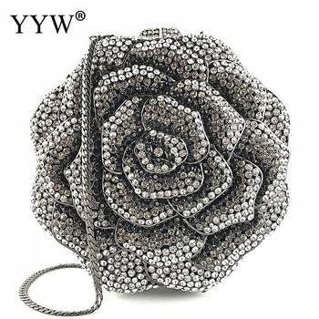 2018 Flower Crystal Evening Bag Clutch Bags Clutches Wedding Purse Rhinestones Wedding Handbags Silver Evening Bag Dropship