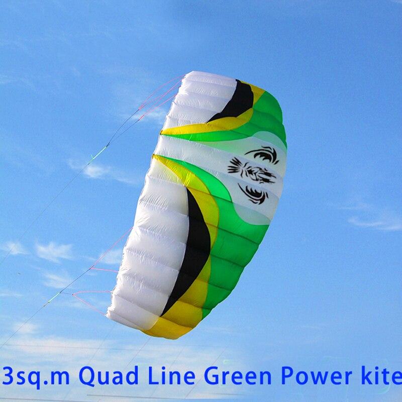 Livraison gratuite haute qualité grande ligne quad puissance cerf-volant surf avec poignée ligne cerf-volant parafoil cerf-volant sport ripstop nylon tissu cerf-volant