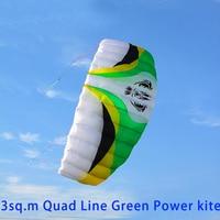free shipping high quality large quad line power kite surf with handle line kite parafoil kite sports ripstop nylon fabric kite