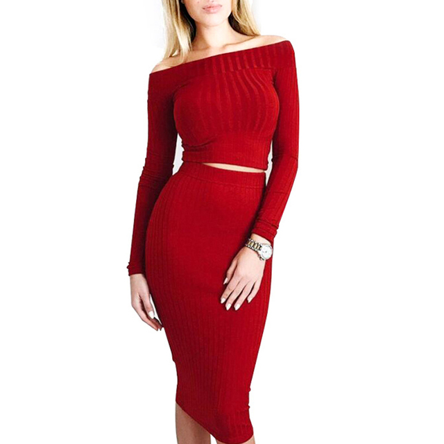 Slash Neck Long Sleeve Women Two Piece Bodycon Midi Dress Autumn Winter Off  Shoulder 2 Piece Set Outfits 3ecb06674