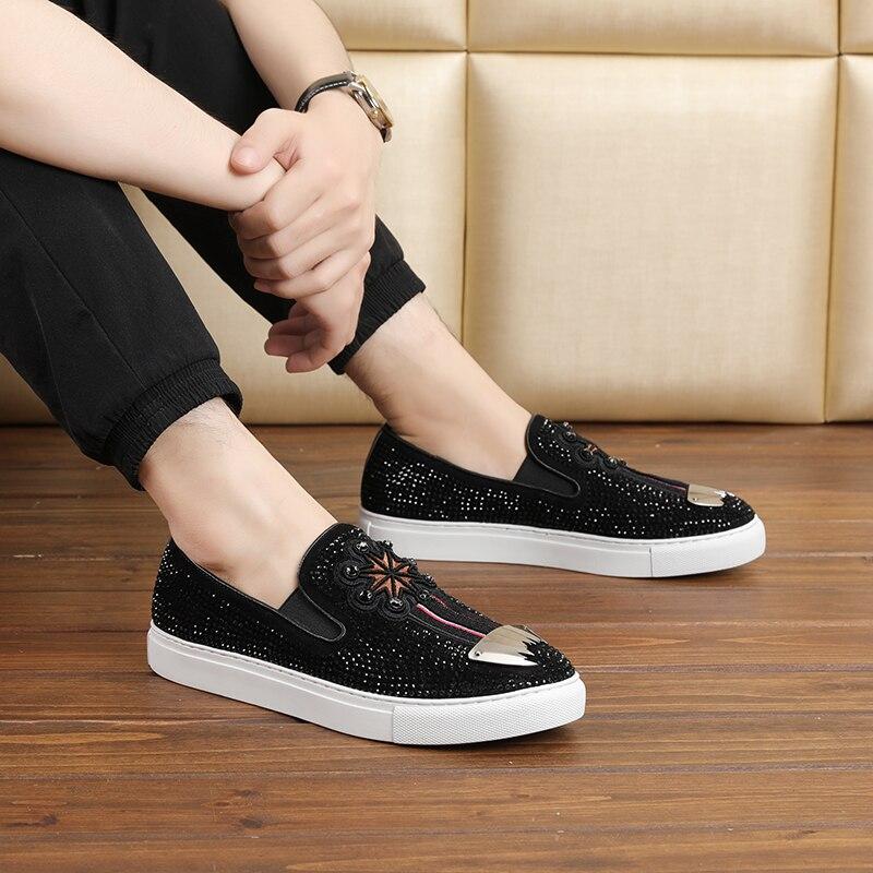 Germuss diamond incrusté hommes mode chaussures en cuir véritable nouvelle haute qualité 2018 confortable grande taille plat hommes chaussures décontractées - 3