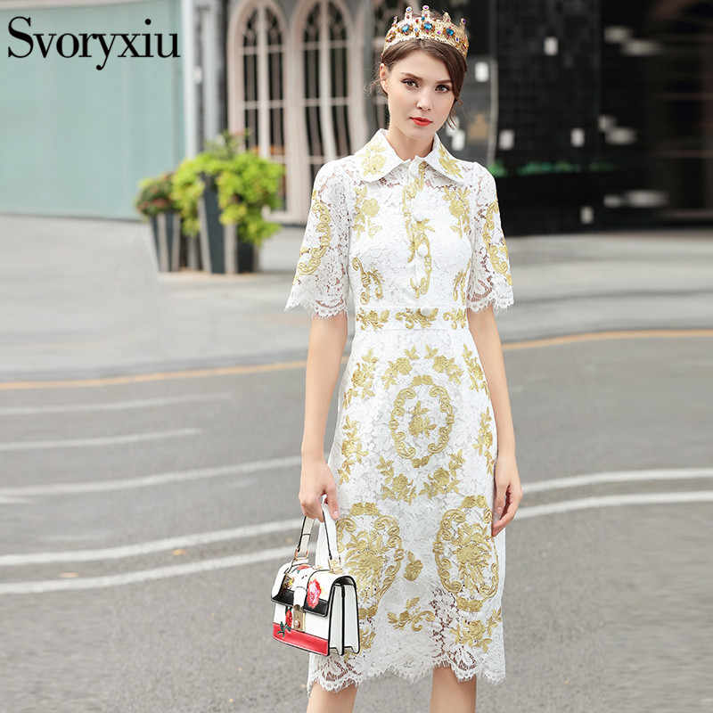 de31389400c SVORYXIU 2019 женская летняя кружево платье Высокое качество Половина  рукава золотая линия вышивка белый элегантный взлетно