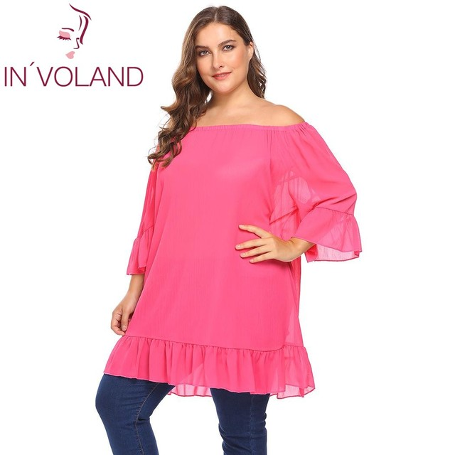 IN VOLAND Plus Size Women Sexy Blouse Blusas Tops XL-5XL Off Shoulder Flare  Party Loose Fit Long Large Pullovers Shirt Big Size c10901c7ea70