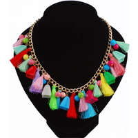 Multicolored Silk Thread Tassel Necklace Acrylic Bead Link Chain Women Necklace Chinese Jewelry Store Ethnic Necklace