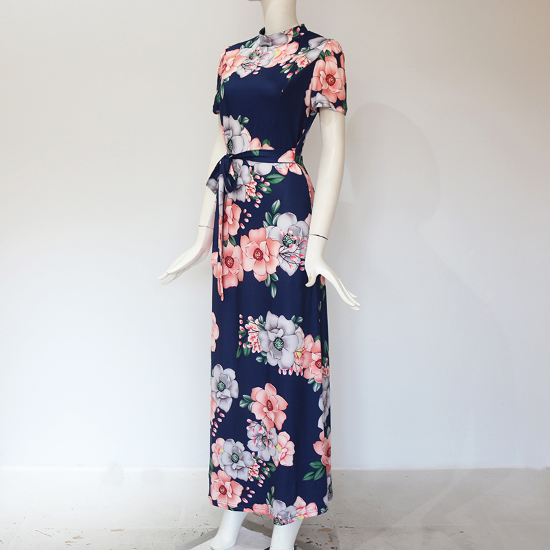 Women Long Maxi Dress 19 Summer Floral Print Boho Style Beach Dress Casual Short Sleeve Bandage Party Dress Vestidos Plus Size 11