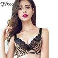 Fikoo sexy bordados rendas sutiãs para mulheres plus size leopard brassiere intimates feminino lace bra tops lingerie copo fino c