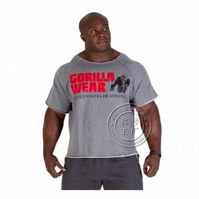 Camisas de Los nuevos Hombres, Oros NPC Powerhouse Gorila Wear Ropa Terry Algodón de Alta Elástica de Fitness y Culturismo y Entrenamiento camiseta