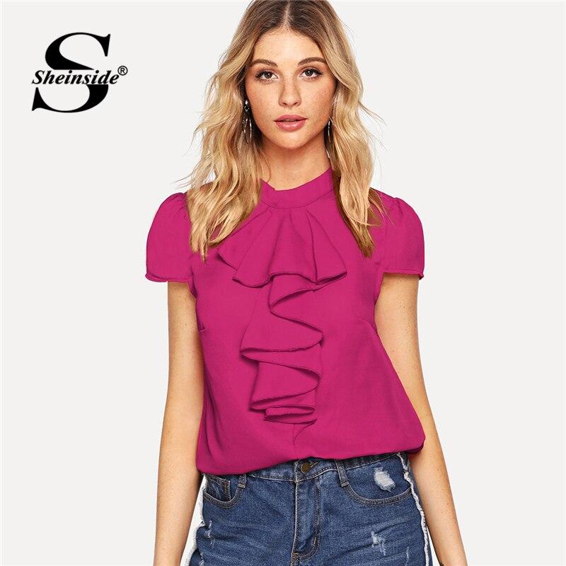 c374325e536 Sheinside Hot Pink Jabot Collar Cap Sleeve Blouse Women Top 2019 Puff  Sleeve Solid Summer Tops