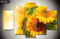 5pcs Diy Diamond Painting Cross Stitch Sunflower Vases Handicraft And Art Needlework 5d Square Drill Mosaic