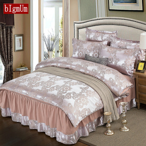 Luxury Embroidered Printing Soft Bedding Sets 4pcs Bed Linings Duvet Cover Pillowcases Bed Skirt For Living Room Home Textile