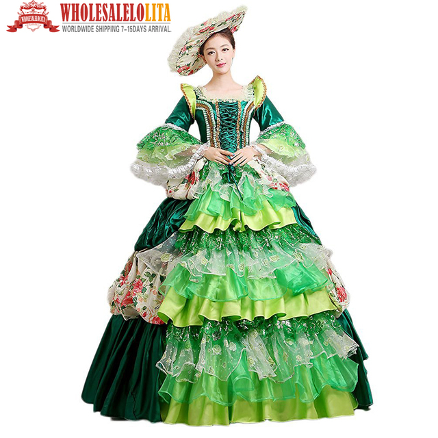 b8d9ea3552 US $81.92 36% OFF|HOT !!! Global Freeshipping Royal Palace Celebrate Party  Belle Ball Gown Marie Antoinette Green Women's Prom Costume-in Holidays ...