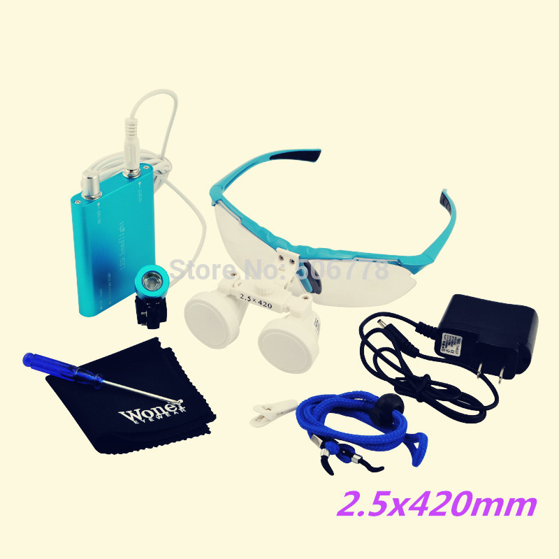 ФОТО free shipping SH-55 2.5X420mm Dental Loupe Magnifier, binocular magnifier with holding blue