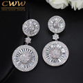 Top Quality Stunning Cubic Zircon Micro Pave Bridal Big Round Drop Earring For Wedding Gift Accessories CZ257