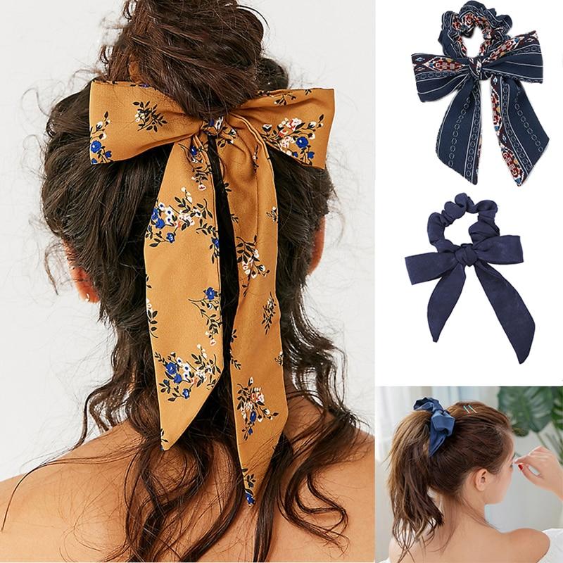 Yonteia Bow Streamers Hair Ring Fashion Ribbon Girl Hair Bands Scrunchies Ponytail Tie Solid Headwear Hair Accessories