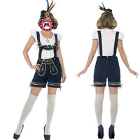 Abbille White Peasant Top And Lederhosen Beer Girl Costume Cosplay Halloween Costumes Maid Costume Deguisement Adultes