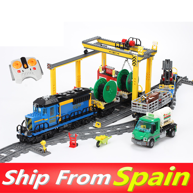 City 02008 02009 02010 the Cargo Train Set Building Blocks Compatible with 60052 60098 RC Tarin