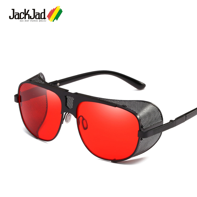 a4d4846c52 JackJad 2018 Fashion Cool Shield Punk Style Side Mesh Sunglasses Vinatge  SteamPunk Brand Design Sun Glasses
