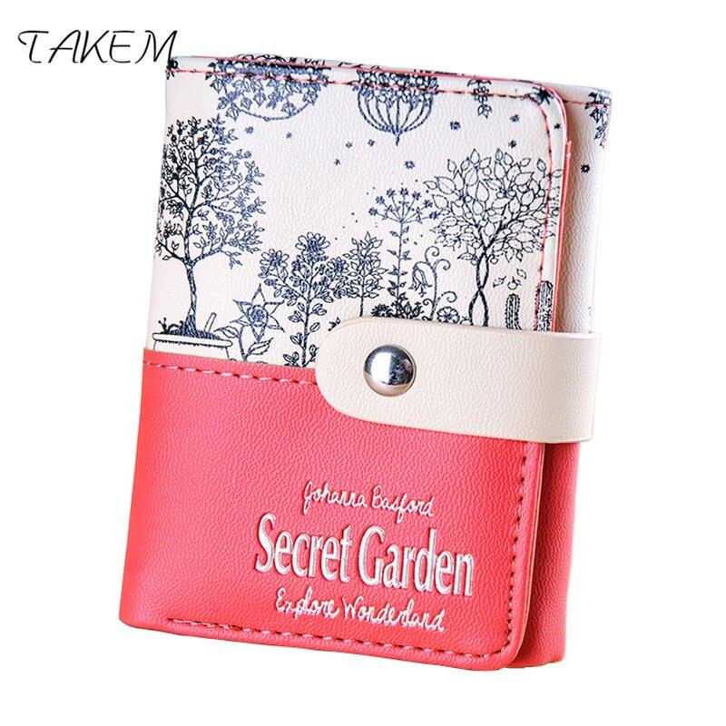 TAKEM New PU Leather Women hasp short Flowers Purse Female Wallets Purse Card Holder coin cash bag Portefeuille femme