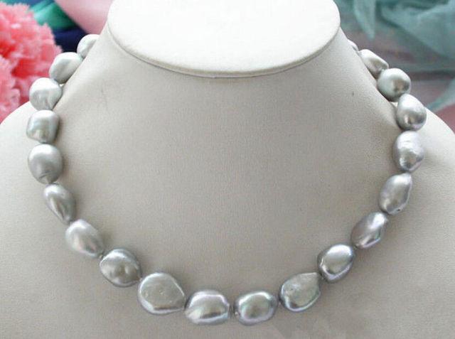 """Venda Hot new Style >>>>> Naturais 9-10mm Silver Gray Barroco Água Doce Pérola Colar 18"""""""