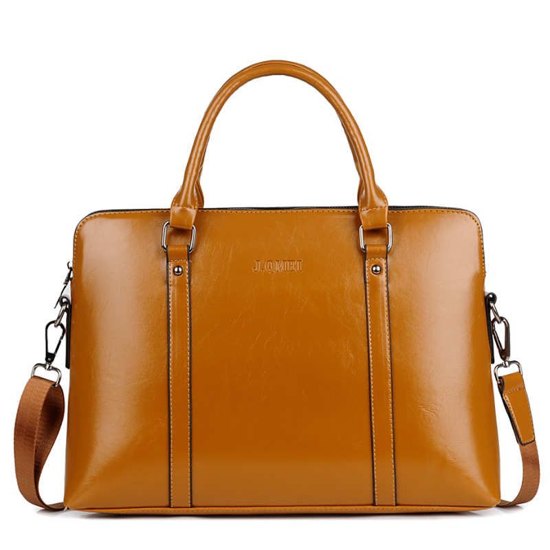 Women Leather Laptop Briefcase Female Brown Business Handbag Woman 14 15.6 Computer Portable Office Bag For Macbook Ipad Mini