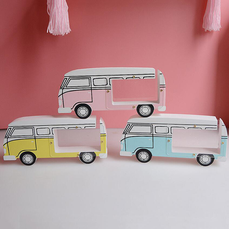 Wooden Car Bus Wood Piggy Bank Cute Money Box Coin Storage Decoration Ornaments New Year Gifts Vintage Crafts Dolls