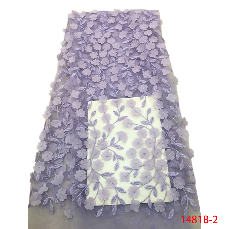 3D Lace Fabric Lilac Applique Flowers Lace Trim Tulle Lace Fabric Sewing Accessories African Fabric High