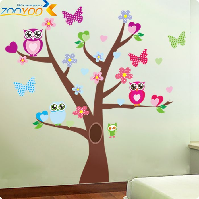 sabio bhos mariposas en colorido rbol pegatinas de pared para nios decorativas nursery home