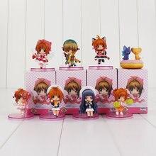 8 unids/lote Sakura Cardcaptor juguete Sakura Kero Li Syaoran Rin hoshizora muñecas modelo con las Bases