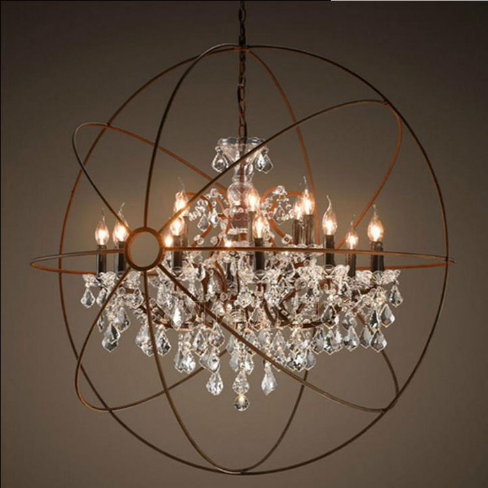 Orbital Crystal Chandelier American Retro Indoor Living Room Hanging Light Luxury Home Deco Art Lamp In Chandeliers From Lights