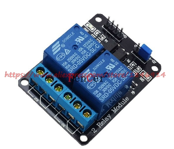 Free Shipping  2-channel New 2 Channel Relay Module Relay Expansion Board 5V Low Level Triggered 2-way Relay Module