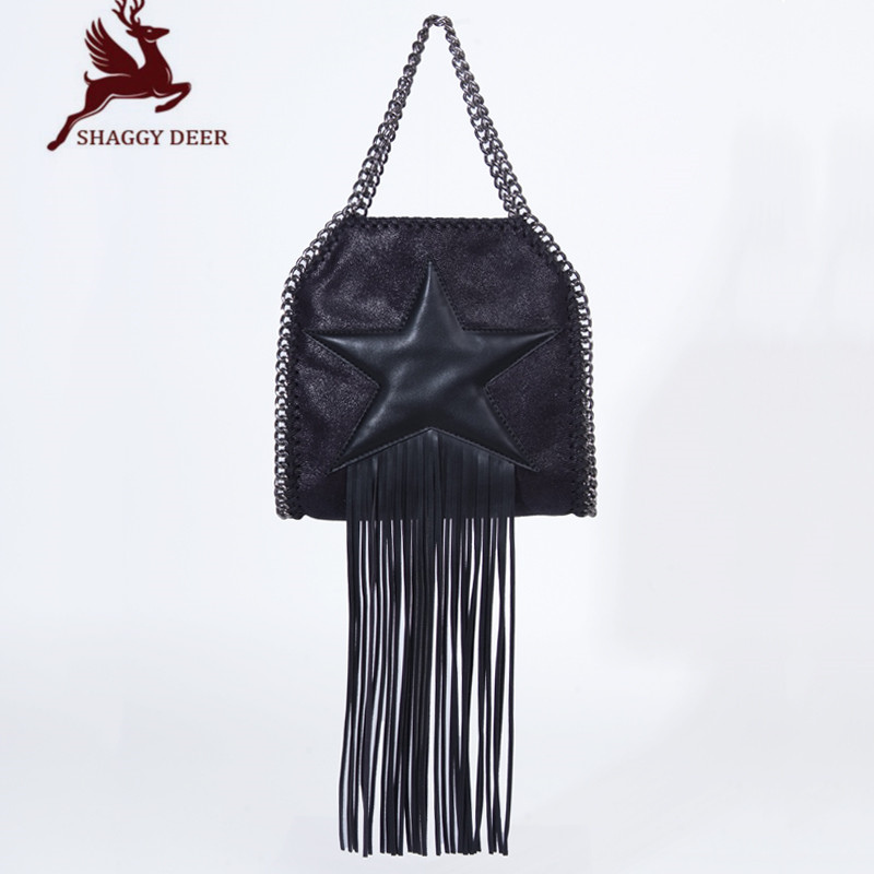 25cm Star Tassel Shaggy Deer PVC FA Chain Bag Handle Crossbody Luxury Quality Handmade Stella Chain Shoulder Bag mini gray shaggy deer pvc quilted chain bag with cover real picture