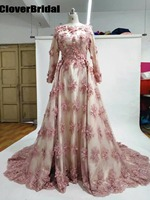 CloverBridal 2017 winter nude long sleeves A line occasion mother of the bride dresses with 3D handmade rose flowers mom's dress