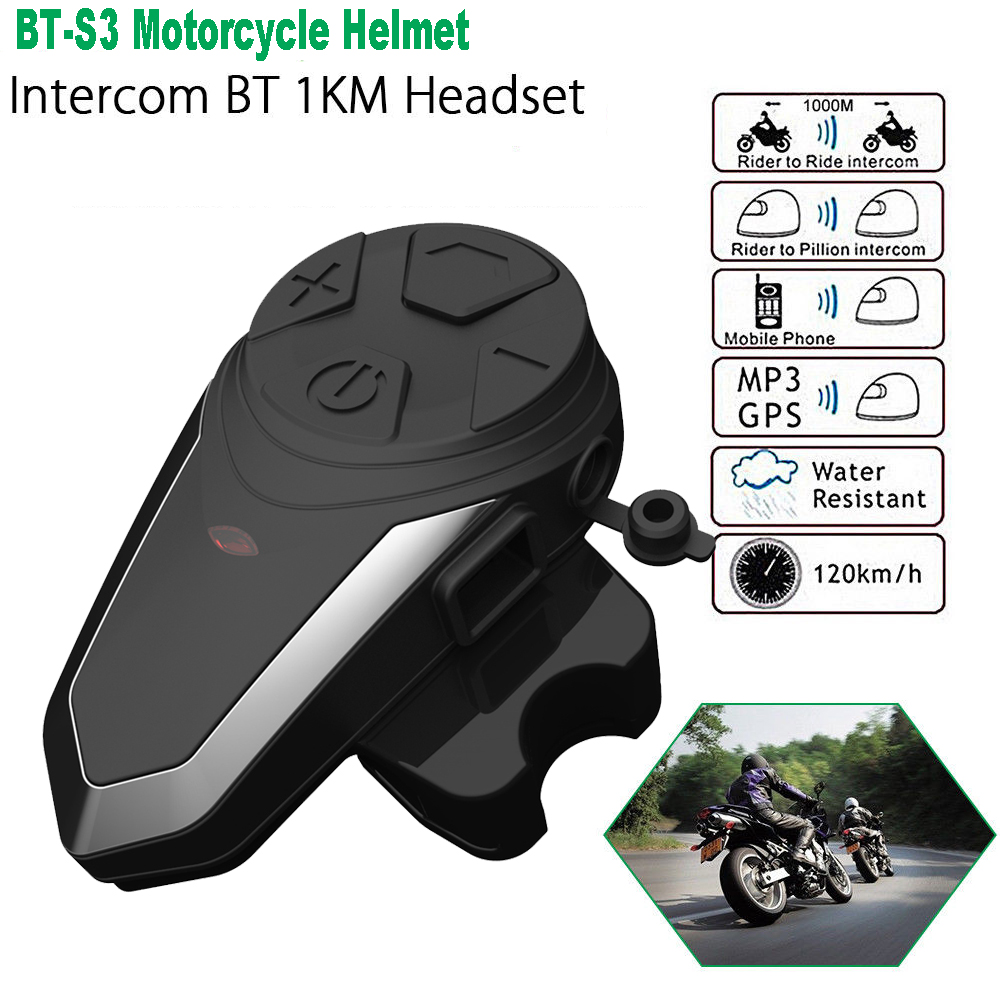 1PC BT S3 1000M 3 Riders Motorcycle BT Helmet Intercom Moto Interphone Headsets Intercomunicador Bluetooth Para