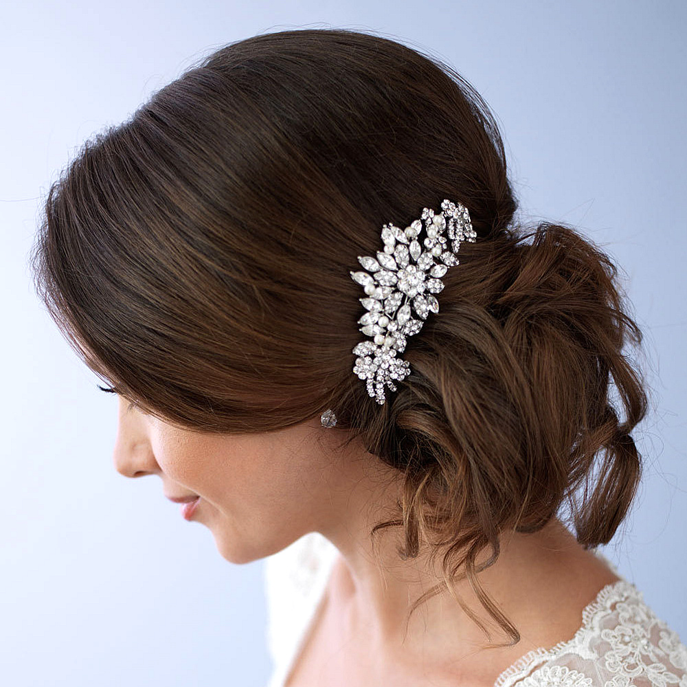 New Bridal Wedding Hair Accessories Elegant Crystal Flower Bridal Hair Combs Hairpin Wedding Floral Hair Jewelry for Women F1712