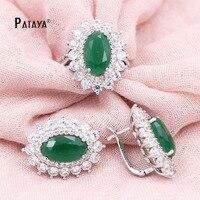 PATAYA RU Hot Koop Vrouwen Luxe Sieraden Set Groene Ovale AAA Natuurlijke Zirkoon Oorbellen Ring Set Zonnebloem True Wit Goud sieraden