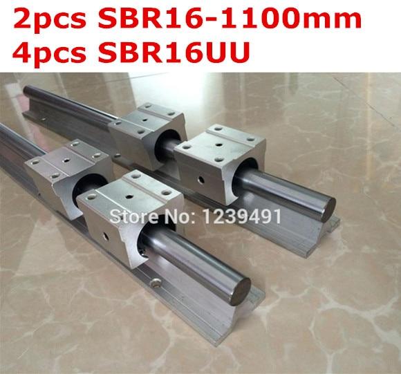 2pcs SBR16 - 1100mm linear guide + 4pcs SBR16UU block cnc router 2pcs sbr16 1000 1500mm linear guide 8pcs sbr16uu block for cnc parts