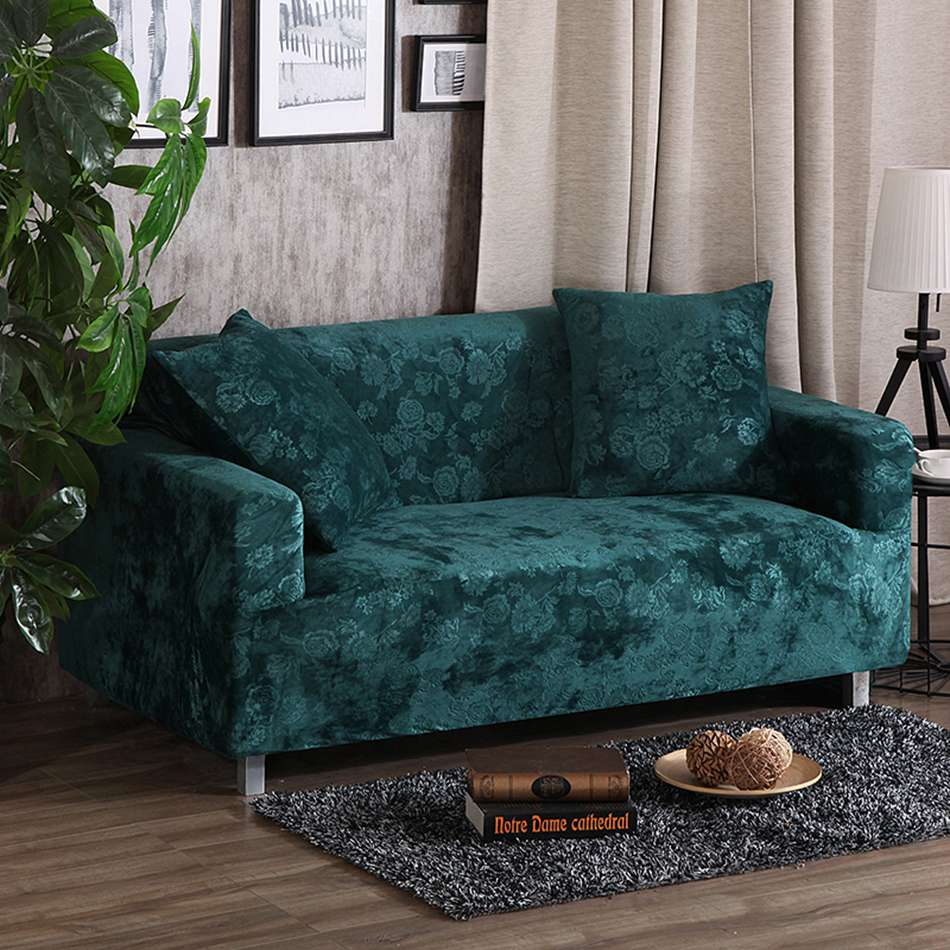 Green embossing stretch sofa cover for living room multi size corner couch sofa cover solid color