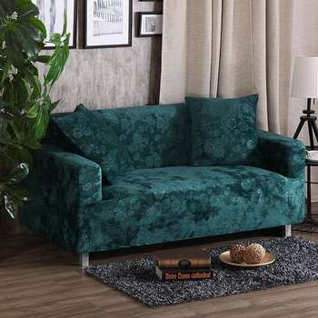 Green embossing stretch sofa cover for living room multi-size cornercouch sofa cover solid color anti-dirty slipcovers Велюр