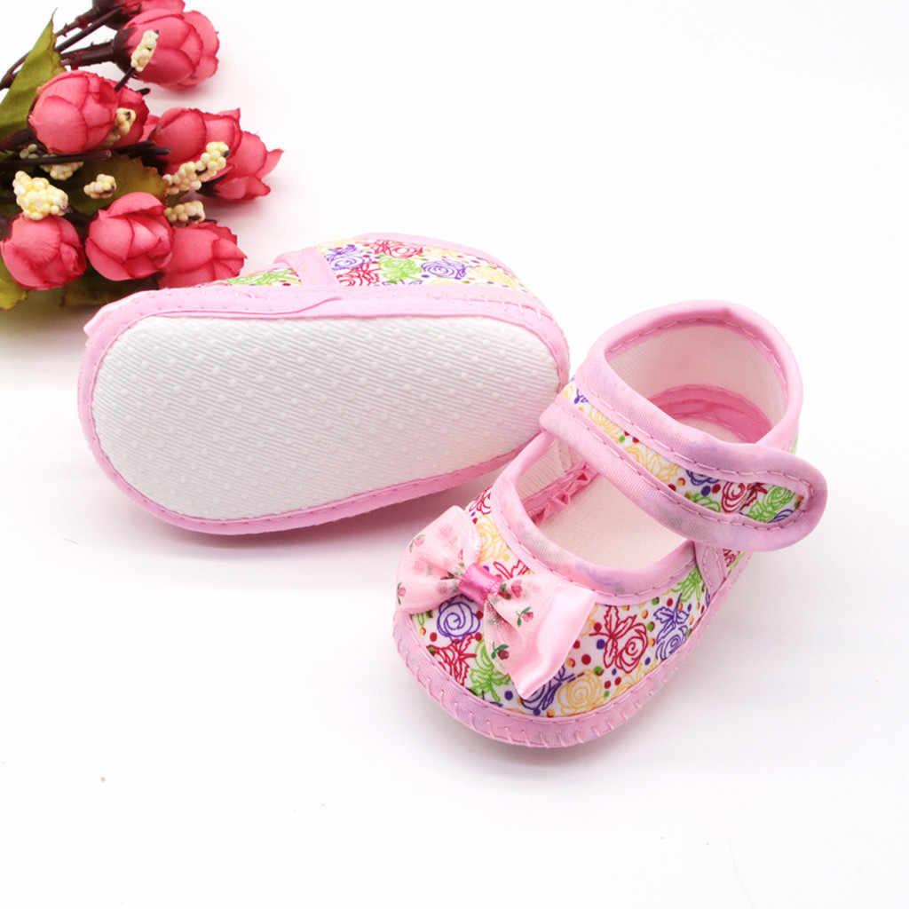 2019 zapatos de bebé primeros caminantes bebé recién nacido bebé niñas impresión arco mariposa Prewalker suela suave solo antideslizante bebé zapatos