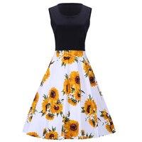 1950 s Vintage Yaz Ayçiçeği Baskı Patchwork Elbise Kolsuz Rahat Artı Boyutu Parti Zarif A-Line Çiçek Midi Elbise Kadınlar
