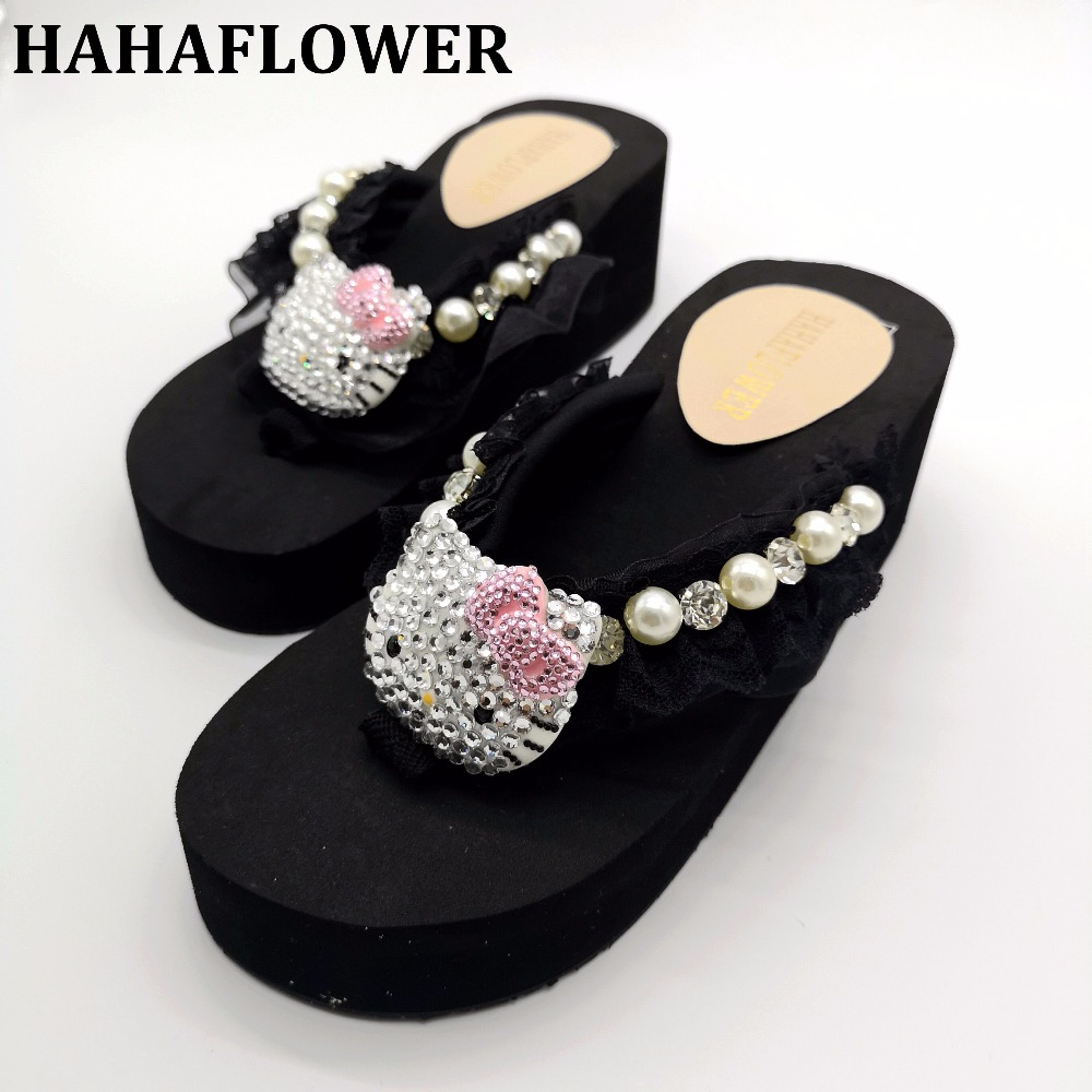 cbc8ace9e4eb HAHAFLOWER Women Summer Home Slippers Cartoon Cat Shoes flip flop House  Slippers Indoor Bedroom Sweet Floor Shoes