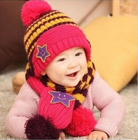 New Winter 5 Star Children Skullies Beanies Scarf Hat Set Baby Boys Girls Knitted Kids Hats