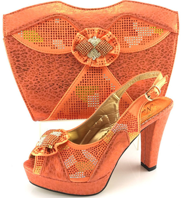 5f1eac6579 Orange Matching Shoes and Bags for African Party Nigerian Shoe and Bag Set  for Women Italian