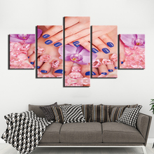 Canvas Prints Pictures Wall Art 5 Pieces manicure hand foot Painting Home Decor Modular Beautiful Poster Framed for Living Room цена