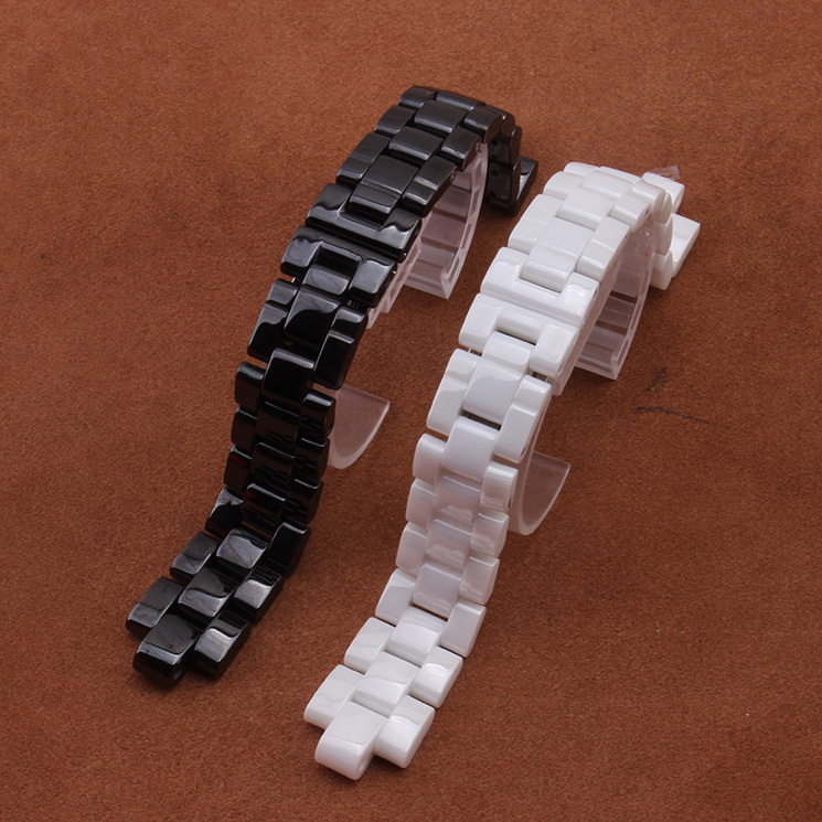 Watchband Ceramic Black Watchbands  19*7.5mm Strap Interface Convex mouth Solid Links Magnetic folding clasp J12 boy or man used