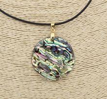 Ожерелье с подвеской из натурального камня Пауа 30 мм 18 дюймов
