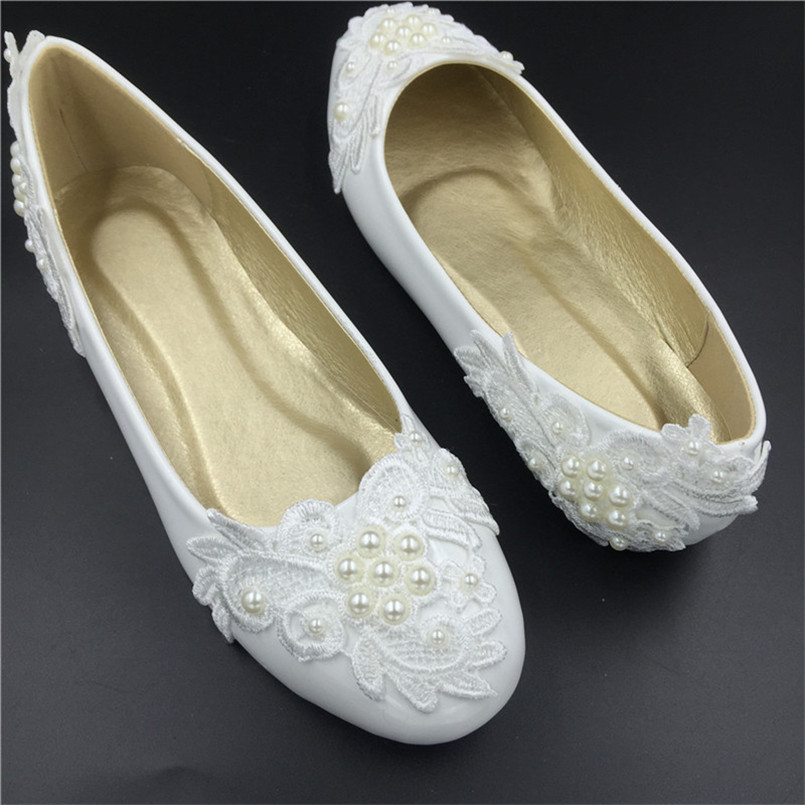 Extra Wide White Wedding Party Shoes Teen Girls Round Toe Ballet